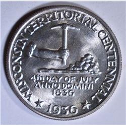 1936 WISCONSIN COMMEM HALF DOLLAR  GEM BU