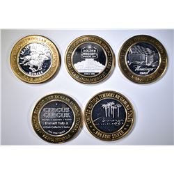 LOT OF 5 $10 .999 SILVER GAMING TOKENS