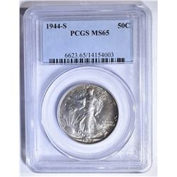 1944-S WALKING LIBERTY HALF, PCGS MS-65