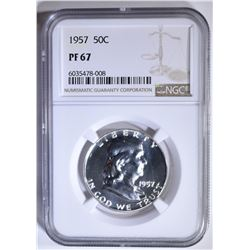 1957 FRANKLIN HALF DOLLAR, NGC PF-67
