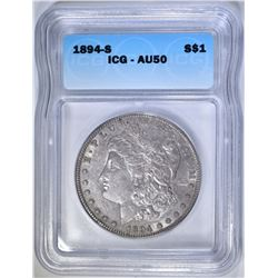 1894-S MORGAN DOLLAR, ICG AU-50