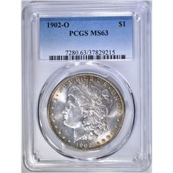 1902-O MORGAN DOLLAR PCGS MS-63 COLOR
