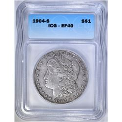 1904-S MORGAN DOLLAR, ICG EF-40