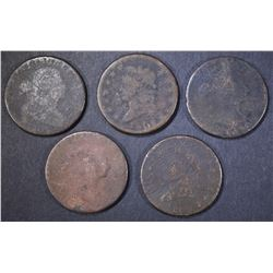 5-LOW GRADE U.S. LARGE CENTS