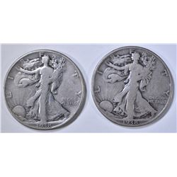 2- 1938-D WALKING LIBERTY HALF DOLLARS, VG/F