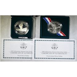 2-1999 YELLOWSTONE NATIONAL SILVER DOLLARS