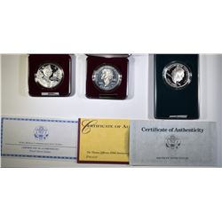 3-PROOF COMMEM SILVER DOLLARS:
