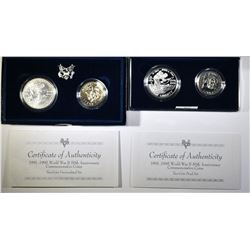 2-WORLD WAR II 50TH ANNIV. 2-COIN SETS