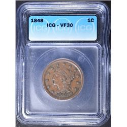 1848 LARGE CENT ICG VF-30