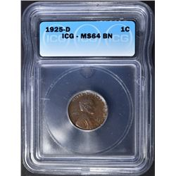 1925-D LINCOLN CENT ICG MS-64 BR