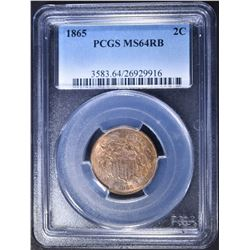 1865 2 CENT PIECE, PCGS MS-64 RB
