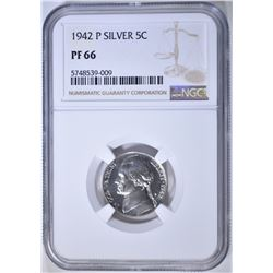 1942-P T-2 SILVER JEFFERSON NICKEL, NGC PF-66