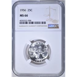 1956 WASHINGTON QUARTER, NGC MS-66