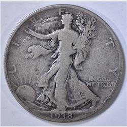 1938-D WALKING LIBERTY HALF, FINE
