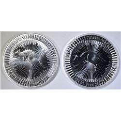 2-BU 2020 AUSTRALIAN 1oz SILVER KANGAROO COINS