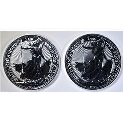 2- 2020 1oz SILVER BRITISH BRITANNIA COINS
