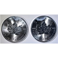2-2014 ONE OUNCE SILVER CANADA MAPLE LEAF COINS