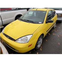 2000 FORD FOCUS ZX3, 2DR HATCHBACK, YELLOW, VIN # 3FAFP3138YR211383