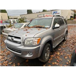 2007 TOYOTA SEQUOIA IFORCE, 4DR SUV, GREY, VIN # 5TDBT48A17S279664