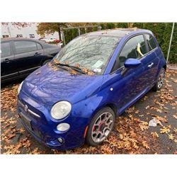 2012 FIAT 500 2DR COUPE, BLUE, VIN # 3C3CFFBR2CT114460