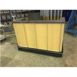 """BLACK & LIGHT WOOD 61""""W X 28""""D X 45""""H MOBILE BAR CATERING UNIT WITH TAP HOSES"""