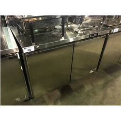 ENVIRO-COOL ESUC48R COMMERCIAL STAINLESS STEEL MOBILE DOUBLE DOOR UNDER COUNTER COOLER