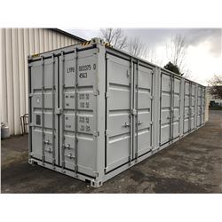 BRAND NEW 40' HIGH CUBE SHIPPING CONTAINER WITH 4 LARGE SIDE DOUBLE SWING DOORS AND 1 REAR DOUBLE