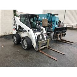 BOBCAT S300, HAS A FORK ATTACHMENT, SOLID RUBBER TIRES, HOUR METER READS 7,980.9 (HOURS NOT VERIFIED