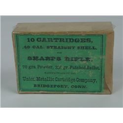 Sharps Rifle 10 Cartridges .40 Cal Shell Box