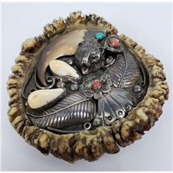 Navajo Elk Tooth Bear Claw Elk Horn Belt Buckle