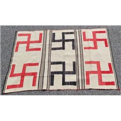 Navajo Transitional Swastika Whirling Log Rug