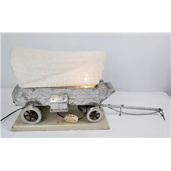 Phenomenal Engraved Aluminum Cowboy Wagon Lamp