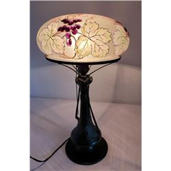 Pairpoint Reverse Painted Grape Lamp Water Lilly