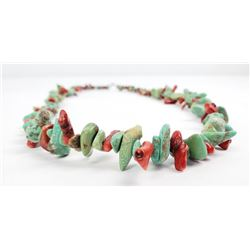 Navajo Turquoise Red Coral Nugget Necklace