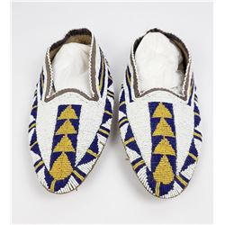 Early Cree Indian Fully Beaded Moccasins