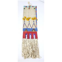 Crow Indian Quilled & Beaded Pipe Bag Wool Tassels