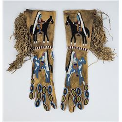Santee Sioux Fully Beaded Figural Chiefs Gloves