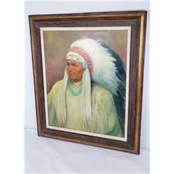 Large Painting on Board Indian Chief Anne Dobson