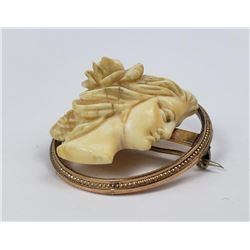 1870s Victorian Carved Cameo 10k Gold Mounting