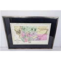 Hand Colored Ide's Map of Montana 1890 Arthur Wide