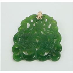 Antique Chinese Green Jade 14k Gold Pendant
