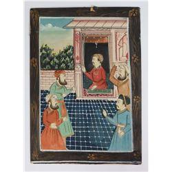 Persian Islamic Mughal Gouache Painting on Silk