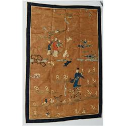 Ancient Antique Chinese Silk Wall Tapestry