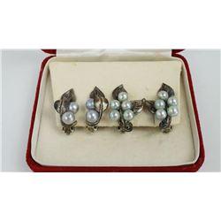 Ming's of Hawaii Sterling Silver Pearl Earrings