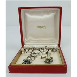 Ming's of Hawaii Sterling Pearl Earrings Bracelet