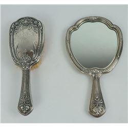 Antique Sterling Silver Vanity Brush Mirror Set