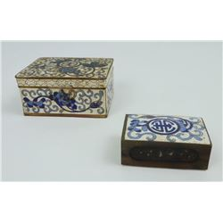 Chinese Cloisonnà Blue and White Box and Matchbox