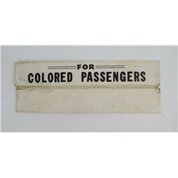 Rare Original Segregated Passenger Train Car Sign