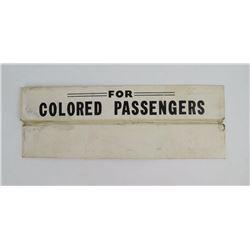 Rare Original Segregated Passenger Train Car Sign