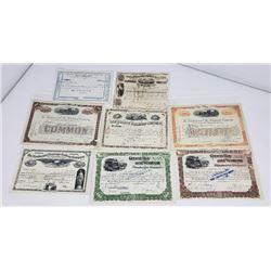 Lot of Railroad Stock Certificates